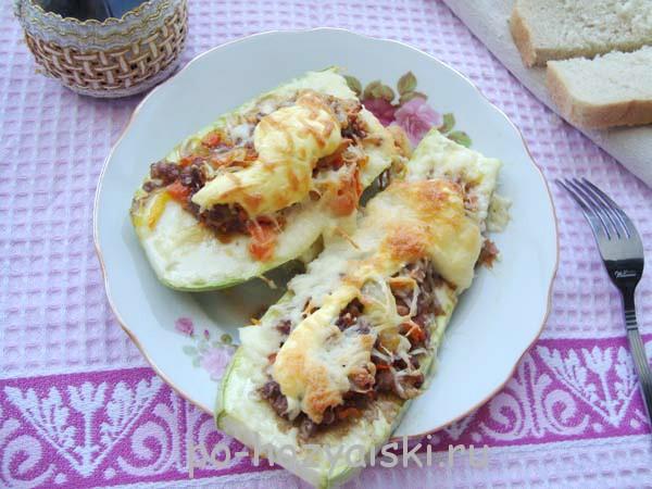 лодочки из кабачков с фаршем рецепт
