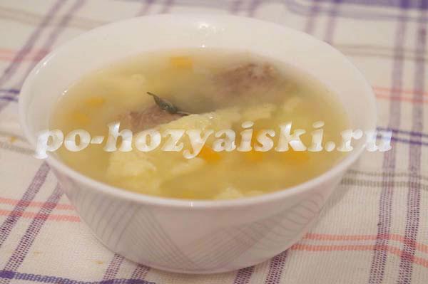Суп без мяса с клецками рецепт