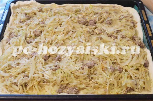 Пирог с капустой и фаршем рецепт с пошаговый