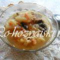 Постный гороховый суп с сушеными грибами