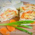 Пикантный рулет из лаваша с корейской морковкой