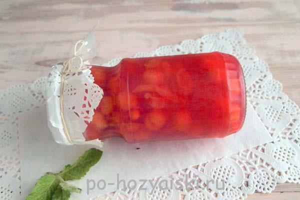 вишня в желе на зиму рецепт