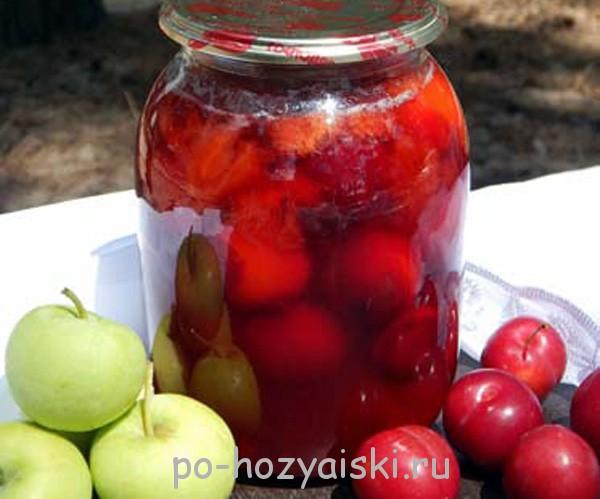 компот из алычи и яблок на зиму