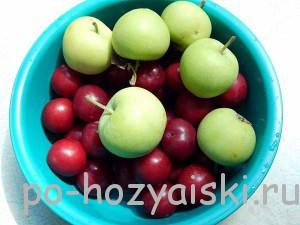 алыча с яблоками