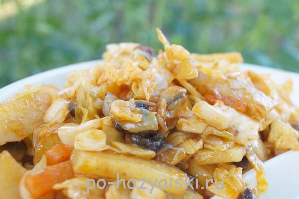 картофель с грибами на мангале