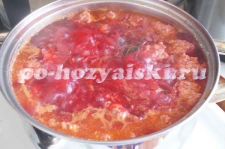 сибирский борщ с фрикадельками