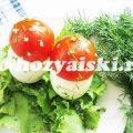 Как приготовить съедобные мухоморы из яиц и помидоров